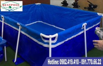 Bể bơi khung kim loại mini phù hợp với mọi gia đình